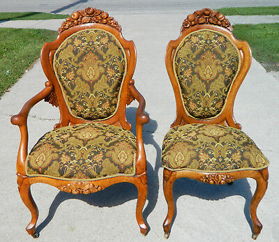 Tiger Oak Belter Laminated Parlor Chairs~~Ladies Chair~~Gentlemans Chair