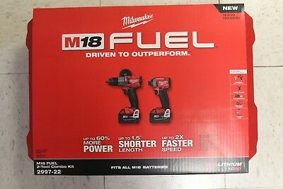 NEW 2997-22 Milwaukee M18 FUEL Cordless Brushless 2 tool Hammer Drill and Impact