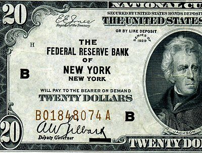 *1929 $20 National Currency FRB of (( New York )) Superb Grade # B01848074A