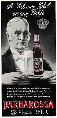 1947 Barbarossa Beer: A Welcome Label On Any Table Vintage Print Ad