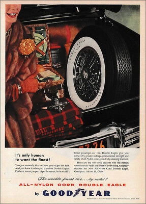 1953 Goodyear Tires: It's Only Human to Want the Finest Vintage Print Ad