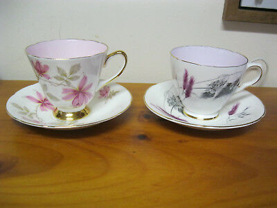 2 sets Tea cups and saucers Old Royal Bone China England floral pink interior