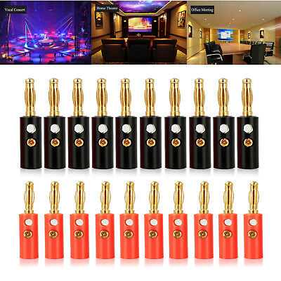 20Pcs 4mm Connector Gold Plated Banana Audio Speaker Plugs Connector Black Red
