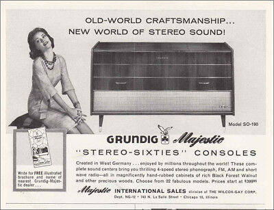 1960 Grundig Majestic Stereo: Sixties Consoles Vintage Print Ad
