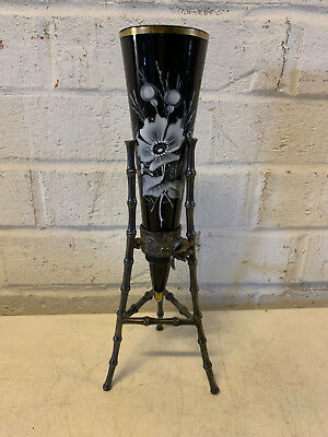 Antique Victorian Black Amethyst Glass Bud Vase w/ Silver Plated Holder w/ Bee