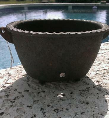 "Antique Rustic Cast Iron Planter Oval with 4-legs/feet 7""x6""x4"" Marked 'HARMONY"""