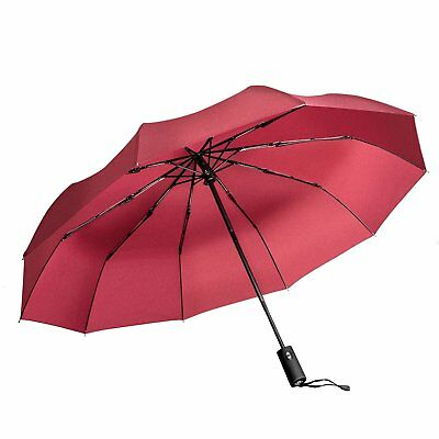 Windproof Umbrella Auto Open Close  Red Portable Compact Travel Folding Canopy