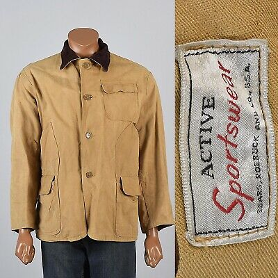 L 1950s Mens Hunting Jacket Corduroy Collar Cotton Duck Outerwear Sears 50s VTG