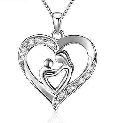 925 Sterling Silver Mother and Child Love Heart Pendant Necklace,Box chain 18'
