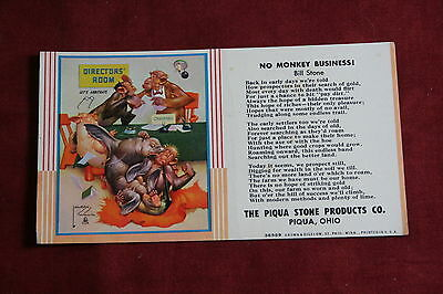 The Piqua Stone Products Advertising Ink Blotter - Artist Signed Lawson Wood