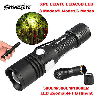 Skywolfeye LED 3/5/6 Modes Flashlights Zoomable Torch Lamp Lights 300/500/1000LM