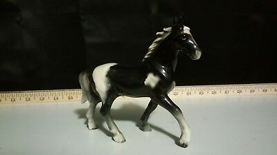 "Vintage Ceramic Black & White Pinto Horse 5"" Tall Figurine Japan"