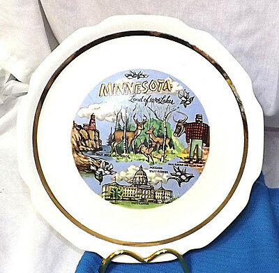 "Minnesta Souvenir Plate  9 1/8"" Good Condition  Stains Underglaze ONLY THE BACK"