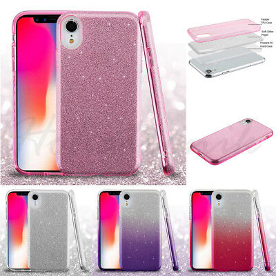 For Apple iPhone XR Hybrid Bling Glitter Rubber Protective Soft Phone Case Cover