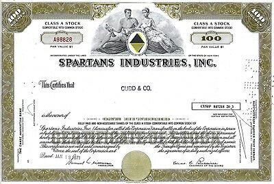 Spartans Industries Inc., New York, 1971 (100 Shares Class A Stock)