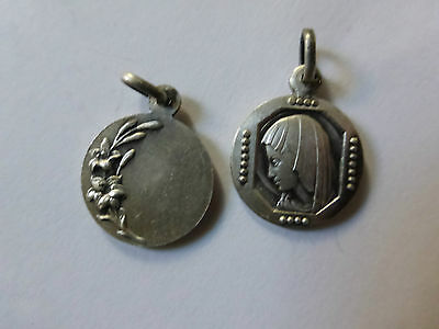 lot 2 médaille en argent Ste Vierge signée CHARL old french silver medal 1960