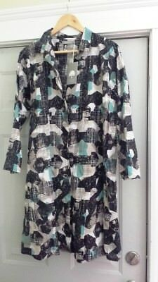 Two Danes Denmark 100% Cotton Shirtdress / Coat – Midcentury Pattern – New