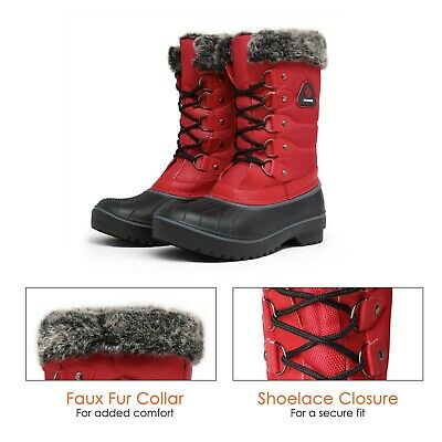 DREAM PAIRS Women DP Warm Faux Fur Lined Mid Calf Lace Up Winter Snow Boots