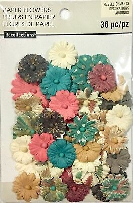 Recollections Embellishments Paper Flowers 36 Mixed Coloured Pieces