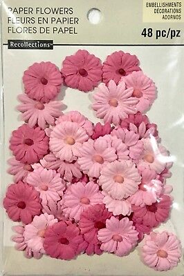 Recollections Embellishments Paper Flowers 48 Mixed Coloured Pieces