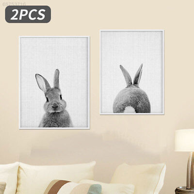 D4D7 Fashion Canvas Print Picture 2pcs Rabbit Pattern Modern Pictures Office