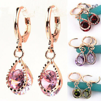 1 Pair Teardrop Round Cut CZ Cubic Zirconia Drop Dangle Earrings Hoops Huggie