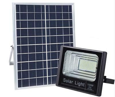 100W Solar Rechargeable LED Street Flood Light Spotlight with Remote Control