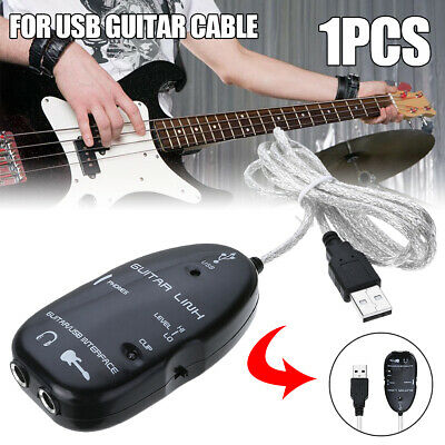 Guitar To  USB Interface Link Audio Cable Cord PC/MAC Recording Music Adapter