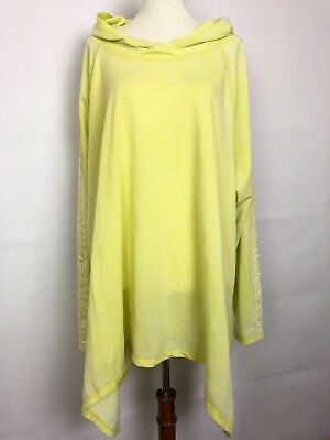 NWT French Laundry Womans Plus Size 3X Pullover Hooded Top Yellow Lace Details