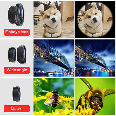 3 in1 Clip-on All Cell Phone Lens Wide Macro fisheye Camera For iPhone/ Phone TR