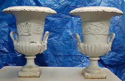 Vintage Antique Cast Iron Urns Flower Pots 2 Pcs.  (A)