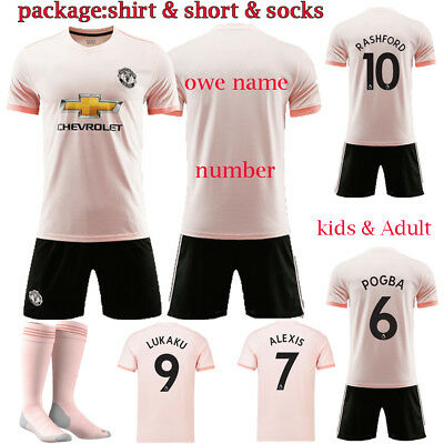 19 Boys Football Club Pink Kit with Socks Kids Soccer Jersey Sports Outfit Set