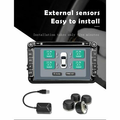 USB Car TPMS Android Tire Pressure Monitoring System con 4 External Sensors DY