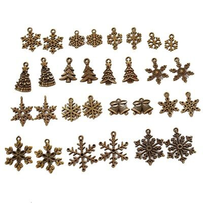 10Pcs Antique Bronze Christmas Tree Snowflake Charms Pendants for Jewelry Making