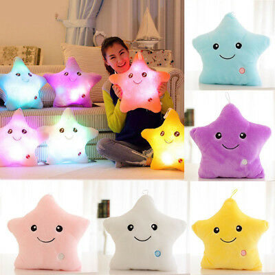 LED STAR PILLOW Light Up Cushion Sofa Bed Bedroom Plush Night Glow Kids Children