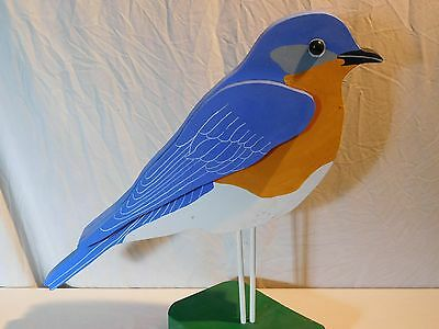 Vintage Wood Garden Blue Bird Primitives Painted Yard Lawn Folk Art