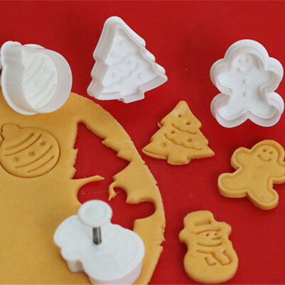 4pcs Christmas Biscuit Mold 3D Cookie Plunger Cutter DIY Baking Mould Kitchen