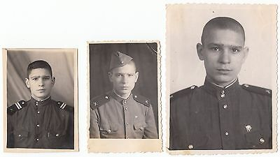 3 orig.photo Russian soldier,junior Sergeant.Military USSR,uniform artillery