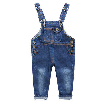 Baby Kids Boys Girls Denim Overalls Bib Pants Jeans Trousers Bottoms Blue AU