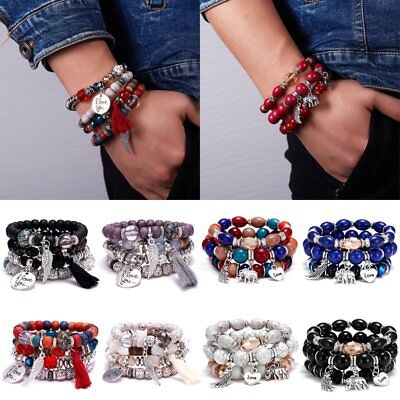 Fashion Multi-layer Boho Natural Stone Tassels Crystal Elastic Bracelet Jewelry