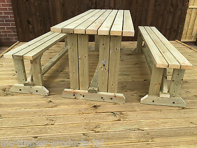 4Ft Walk-In Style Picnic Table & Seats Set. Heavy Duty - Natural Colour