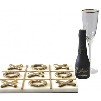 Gold/Brass Large Heavy Marble Tic Tac Toe - Naughts And Crosses Deluxe