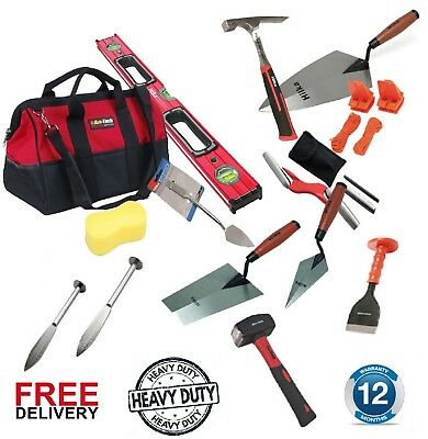 PLASTERING TROWEL SET, Bricklayer Tools Set, Carry Bag, Trowels, Spirit Level