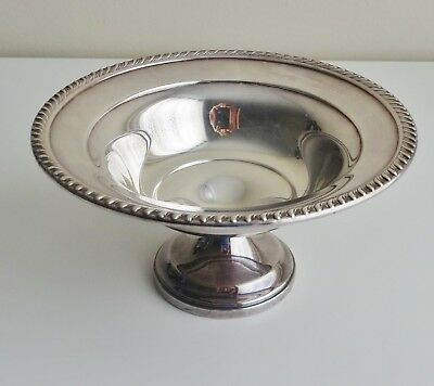 "Vintage Pedestal Bowl Silver Plated Scalloped Edge 3.5"" Tall Nuts Candy Fruit"