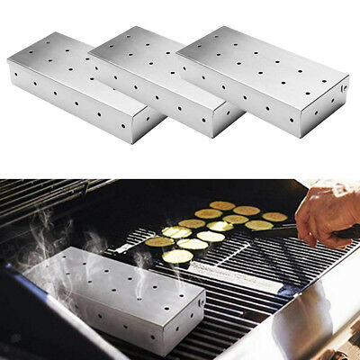 3Pcs Stainless Steel Meat Smoking Smoker Box for BBQ Wood Chips