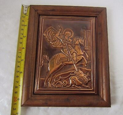 Saint George Killing the Dragon copper plaque icon with  wooden frame