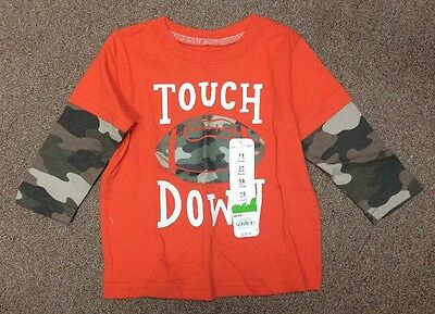 """JUMPING BEANS Boys """"Touch Down"""" Orange/Camo Cotton Shirt - Size 12 Months - NEW"""