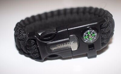 Paracord Survival Bracelet 5 in 1 Emergency Tactical Camping Survival Black NEW