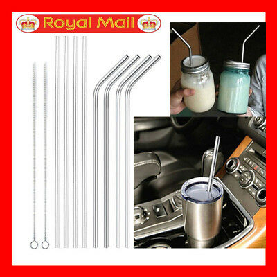 8Pcs Metal Stainless Steel Car For Winter Hot Drinks Straw Reusable & Cleaner UK