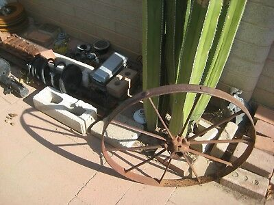 "Vintage Antique ** 26"" DIAMETER x 10 SPOKES ** Steel Wagon Cart Implement Wheel"